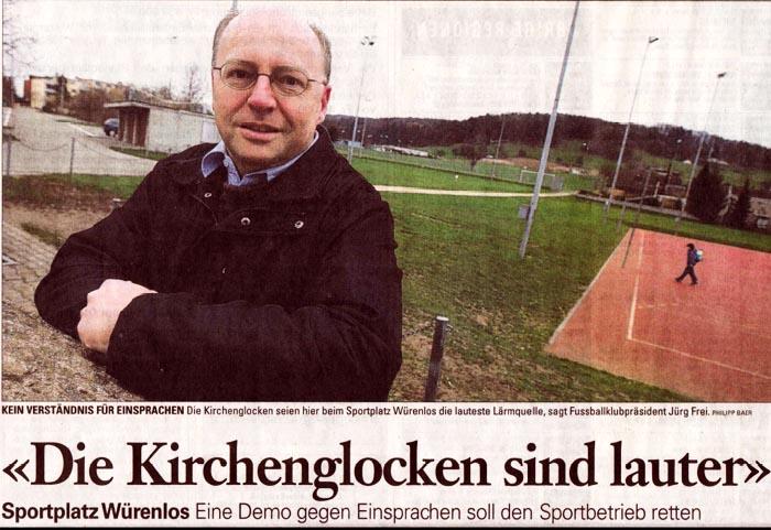 Kirchenglocken in Würenlos sind lauter als Sportplatz-Lärm sagt Jürg Frei.