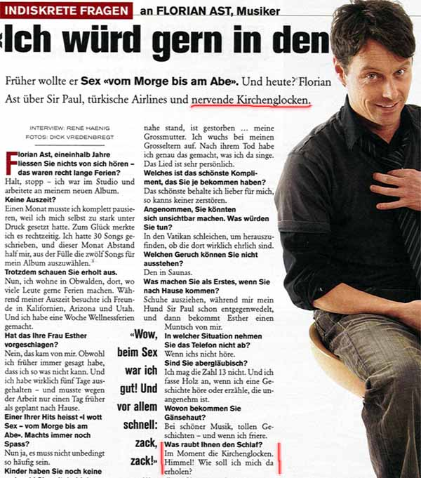 Florian Ast nervt sich ab dem Lärm von Kirchenglocken! (Aus der Schweizer Illustrierten)