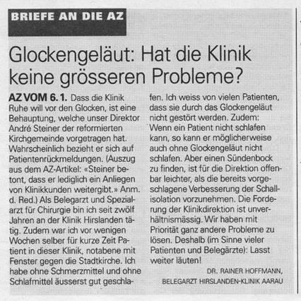 Dr. Rainer Hoffmann, Arzt in der Klinik Hirslanden in Aarau ist für die Nachtruhe-Störung durch Kirchenglocken!
