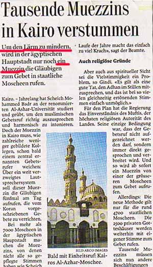 Zuviel Lärm in den staatlichen Moscheen von Kairo: Tausende Muezzins müssen schweigen!