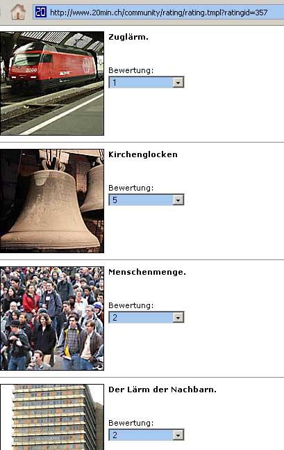 Lärmumfrage 2008 von 20min.ch zum Tag gegen Lärm