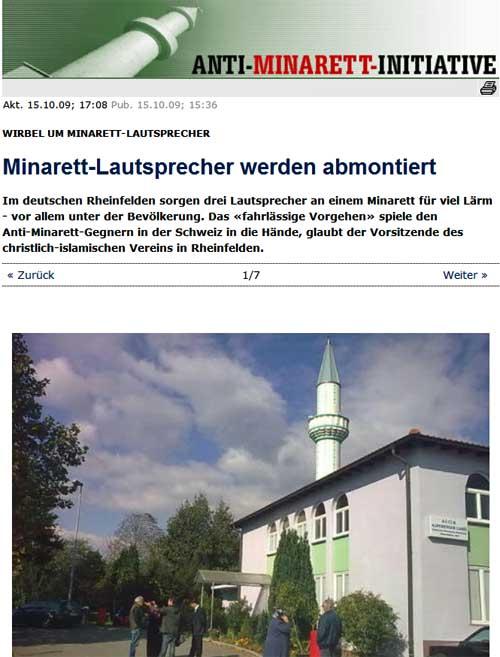 Minarett in Rheinfelden - Lautsprecher müssen wieder abmontiert werden.