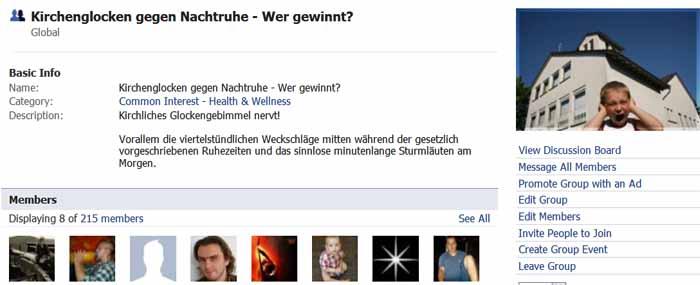 Facebook Gruppe: Kirchenglocken gegen Nachtruhe.