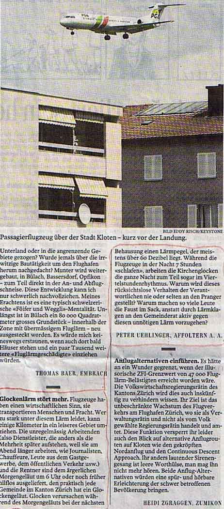 Fluglärm - Kirchenglockenlärm: Leserbrief von Peter Uehlinger