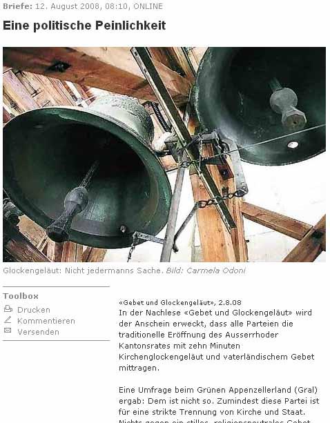 GRAL - Grüne Appenzell für Trennung von Kirche und Staat. Gebet und Kirchenglocken.