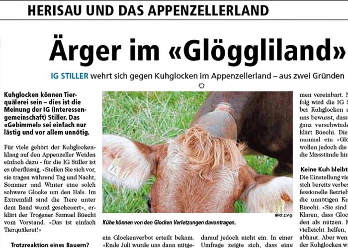 Kuhglocken verursachen Aerger im Glöggliland Appenzell und Ostschweiz.