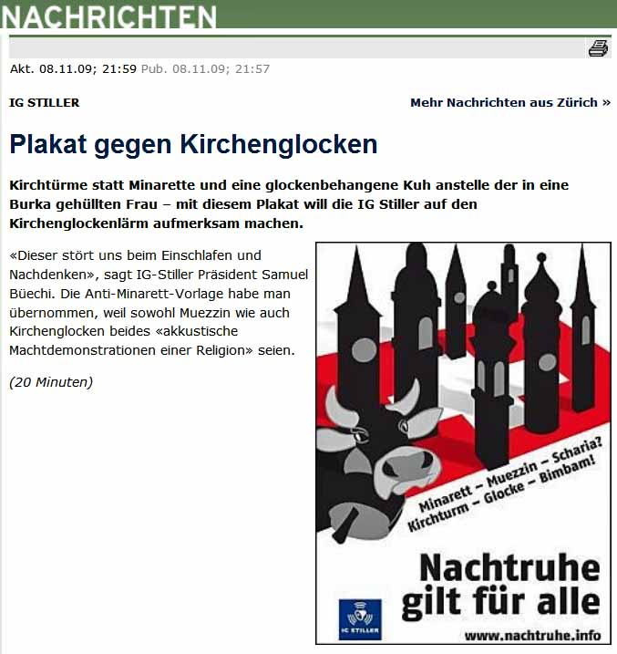 IG Stiller Plakat: Muezzin gegen Kirchenglocken gegen Kuhglocken.