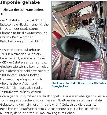 Die CD der Jahrtausende ist ein Imponiergehabe sagen Leserbriefe im St. Galler Tagblatt