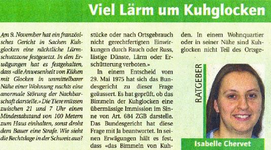 """""""Viel Lärm um Kuhglocken"""" von Isabelle Chervet vom Bauernverband."""