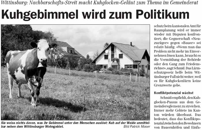 Kuhglocken in Wittinsburg machen Lärm.