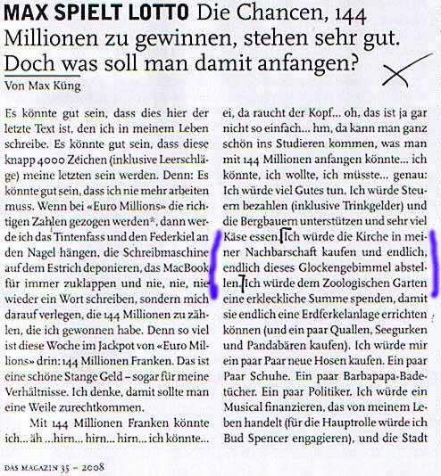 Max Küng würde gerne die Kirche kaufen und den Kirchenglocken Lärm abstellen!