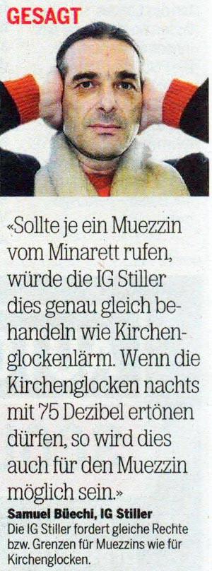 IG Stiller: Muezzin vom Minarett soll wie Lärm von Kirchenglocken behandelt werden.