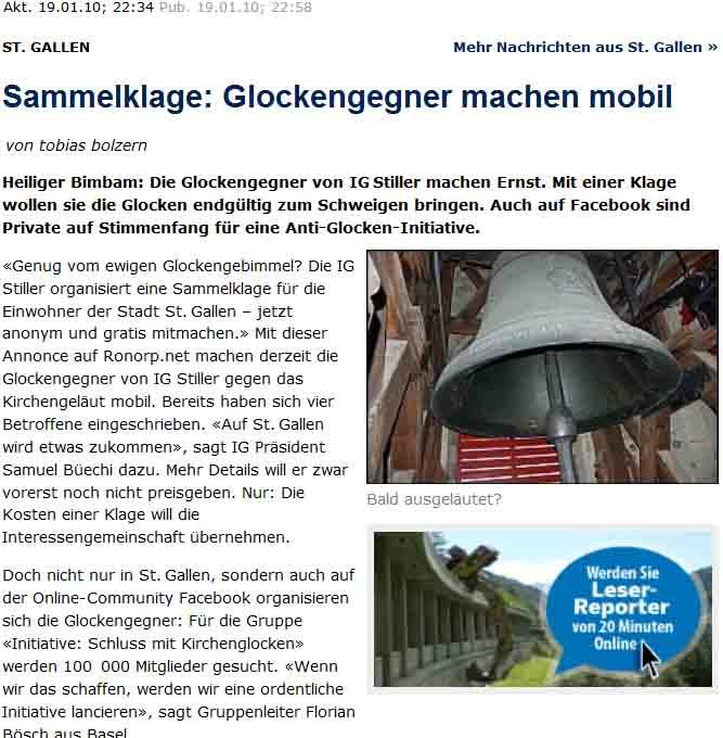 IG Stiller bringt Sammelklage gegen Lärm von Kirchenglocken in St. Gallen.